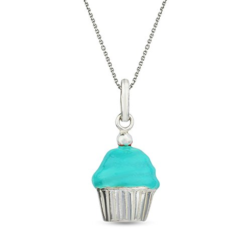 LeCalla Sterling Silver Jewelry Cup Cake Charm Pendant for (Cupcake Charm Necklace)