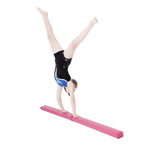 -[ Pink Faux Leather Folding Gymnastics Training Balance Beam  ]-