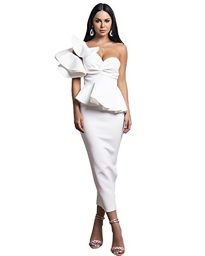 Kerrian Online Fashions 31zROS02alL Miss ord Sexy Spring and Summer One-Shoulder Backless Dresses Female Elegant Ruffle Mermaid Dress