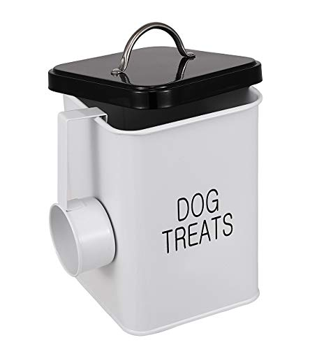Dog Treat and Food Storage Tin with Lid and Scoop Included – Tight Fitting Lids – White-Coated Carbon Steel – Pet Treat Collection Metal Storage Canister