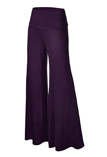 Monocromo Larghi Tempo Pantaloni Donna Palazzo Pantalone Pantalone Pantaloni Libero Lungo Waist Accoglientechic Pureed Yoga Gonna Violett Baggy Elegante High wptOqnS4