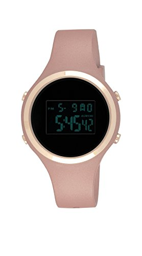 Moulin Women's Pastel Color Digital Jelly Watch Dark Screen Metallic Pink #03158-77175