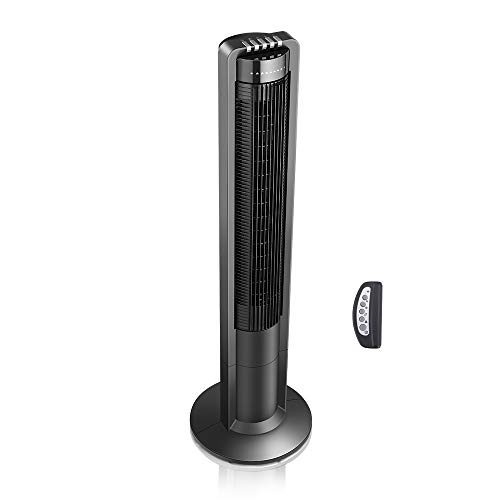 Airvention X01A Oscillating Tower Fan, Remote Control, 3 Quiet Speeds and Modes, Energy Saving Timer, Wide Internal Oscillation, 43 inch, Black by Airvention