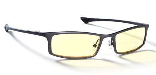 Gunnar Optiks ST002-C012 Phenom Full Rim Ergonomic Advanced Computer Glasses with Amber Lens Tint, Graphite Frame Finish