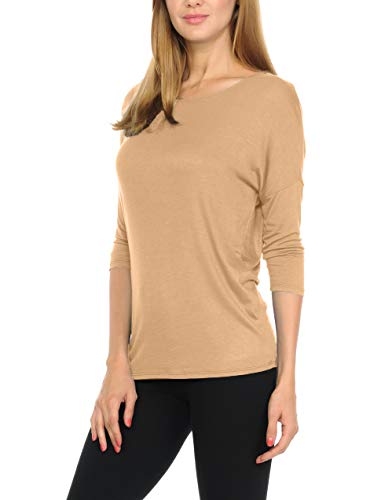 bluensquare Women's Dolman 3/4 Sleeves Round Neck Soft Jersey Top (Large, Taupe) ()