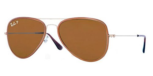 Ray-Ban Men's RB3513M 149/83 Polarized Aviator Sunglasses, Sand Gold/Brown - Ray Aviator Bans Brown