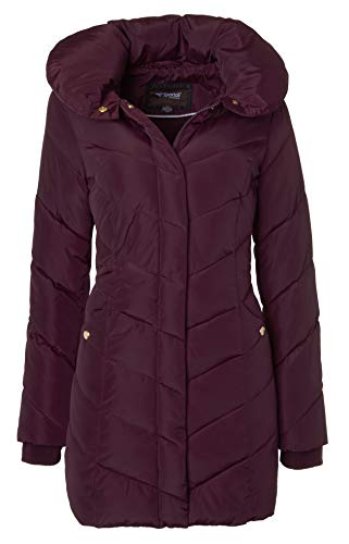 Sportoli Womens Winter Fleece Lined Chevron Quilted Puffer Jacket Coat with Hood - Merlot (Size Medium)
