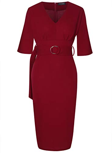 OTEN Women's Classic Cocktail Party Half Sleeve Deep V Neck Bodycon Pencil Dress with Belt Wine Red