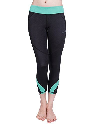Baleaf Women's Workout Running Yoga Capri Leggings 3/4 Length Green Size S