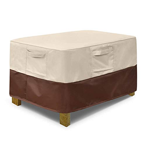 Vailge Rectangle Patio Ottoman Cover, Waterproof Outdoor Ottoman Cover with Padded Handles, Patio Side Table Cover, Heavy Duty Patio Furniture Covers (Small,Beige & Brown)
