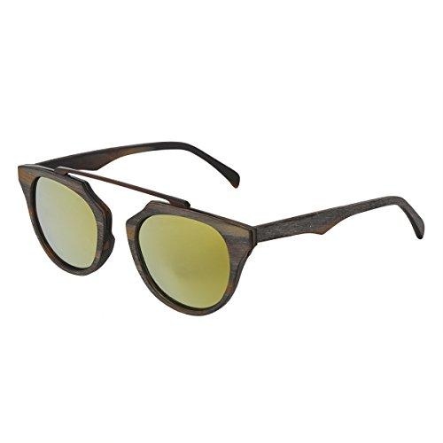 de6d2f5b7edde WISH CLUB Wood Frame Polarized Bamboo Sunglasses Handmade Reflected Vintage  Sunglasses for Women and Men