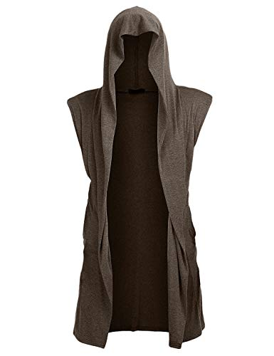 UUANG Mens Open Front Sleeveless Vest Draped Lightweight Hooded Cardigan Shawl Collar Coffe,S ()