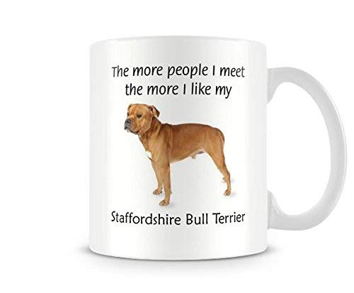 (Funny Dog Mug - I Like My Staffordshire Bull Terrier Ceramic Coffee Mug Tea Mug Great Gift Idea)