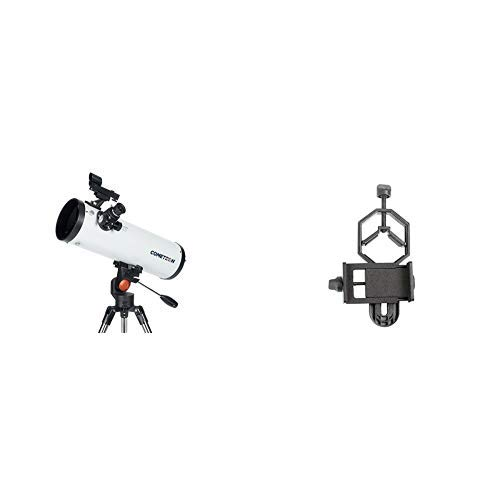 Celestron 21079 Cometron 114AZ Telescope (White) with Basic Smartphone Adapter 1.25'' Capture Your Discoveries by Celestron