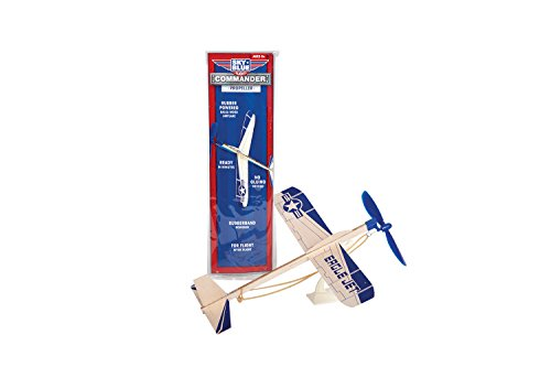 Sky Blue Flight Balsa Eagle Jet Rubber Band Powered Glider Model Kit, 12