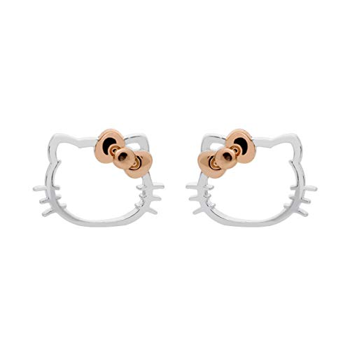 Hello Kitty Jewelry for Women and Girls, Sterling Silver Two Tone Stud Earrings with Rose Gold Plated Bow ()