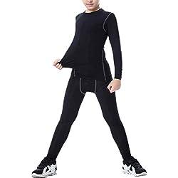 LANBAOSI Boys & Girls Long Sleeve Compression Shirts and Pant 2 PCS Set, Black, 12