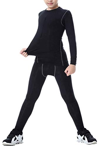 LANBAOSI Boys & Girls Long Sleeve Compression Shirts and Pant 2 PCS Set, Black, 10 ()