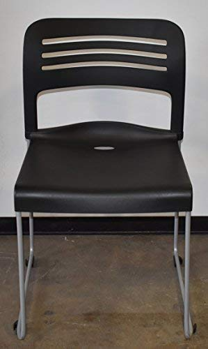 Ergo Contract Layover Stack Chair with Sled Base, Black, 18 Seat Height, Sold as Set of 4 per Box (New in The Box)