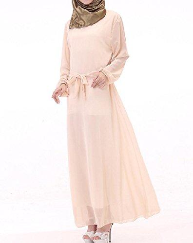 Coolred-femmes Robe Musulmane Arab Taille Plus Maxi Ceinture De Couleur Pure Robe Longue Pattern5