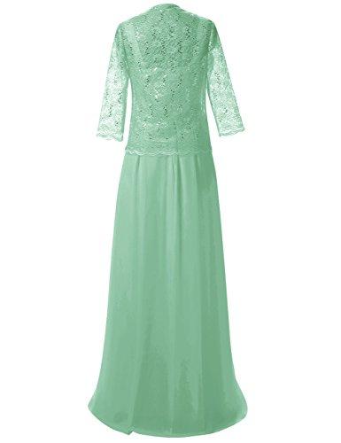 Lang Spitze Abendkleider mit Damen der Chiffon Jacke Mutter Kleider Festkleid Braut Minze xxR0SzUq