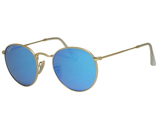 Ray Ban RB3447 Round Metal 112/4L Matte Gold Polarized Sunglasses ()