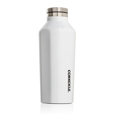 Corkcicle Canteen - Water Bottle and Thermos - Keeps Beverages Cold for Over 25, Hot for Over 12 Hours - Triple Insulated with Shatterproof Stainless Steel Construction - White - 9 oz.