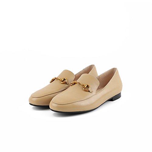 de Redonda Superficial Zapatos Pisos Boca Sandalias Cabeza Apricot de color QXH de Mujer Cuero YFpAq