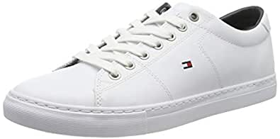 TOMMY HILFIGER Men's Essential Leather Sneaker, White, 41 EU