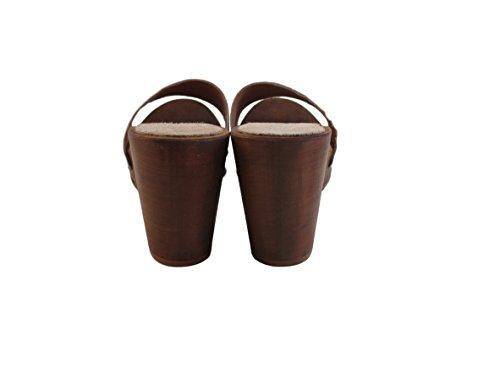 SilferShoes - Zoccolo in vero legno e pelle di camoscio, colore beige -susy B