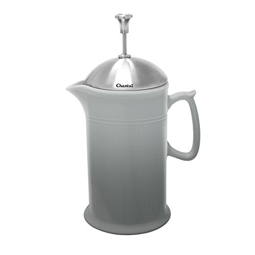 Chantal 92-FP28 FG Ceramic French Press with Stainless Steel Plunger/Lid, Fade Grey