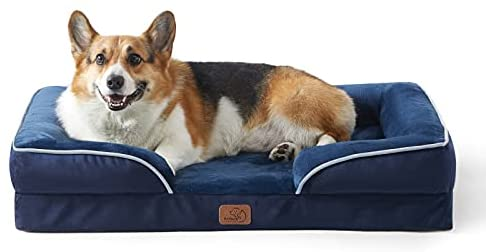 Bedsure Large Orthopedic Dog Bed for Large Dogs – Big Waterproof Dog Bed Medium, Foam Sofa with Removable Washable Cover, Waterproof Lining and Nonskid Bottom Couch, Pet Bed, Navy Blue