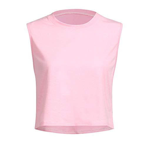 iZHH Shirt for Women Crop Top Sleeveless Racerback Workout Gym Solid Shirt Yoga Athletic Tank Pink by iZHH (Image #3)