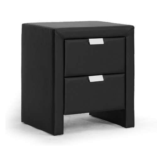 Baxton Studio Frey Nightstand in Black 2 Drawer Contemporary