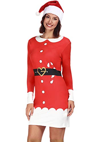 Women Christmas Printed Custome Bodycon Longsleeve Red Dress Santa Claus -