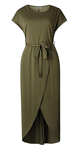 23ff3eac76 Yidarton Women s Casual Short Sleeve Slit Solid Party Summer Long Maxi Dress