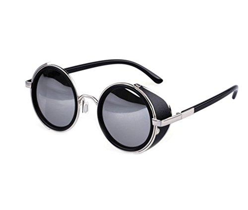 Tansle Iron Man Sunglasses Leather Block Metal Frame Retro - Berkley Camo Sunglasses