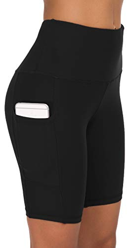 Custer's Night High Waist Out Pocket Yoga Pants Tummy Control Workout Running 4 Way Stretch Yoga Leggings Black S