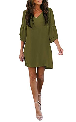 noabat Womens Summer Dresses 3/4 Bell Sleeves V Neck Short Casual Dress Green Small