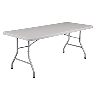 National Public Seating BT3000 Series Steel Frame Rectangular Blow Molded Plastic Top Folding Table, 1000 lbs Capacity, 72  Length x 30  Width x 29-1/2  Height, Speckled Gray/Gray