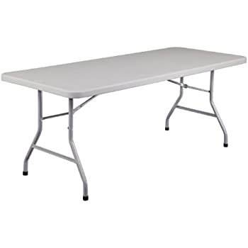 National Public Seating BT3000 Series Steel Frame Rectangular Blow Molded  Plastic Top Folding Table, 1000