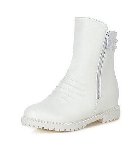 Amoonyfashion Womens Zipper Gattino-tacchi Pu Solid Low-top Stivali Bianco