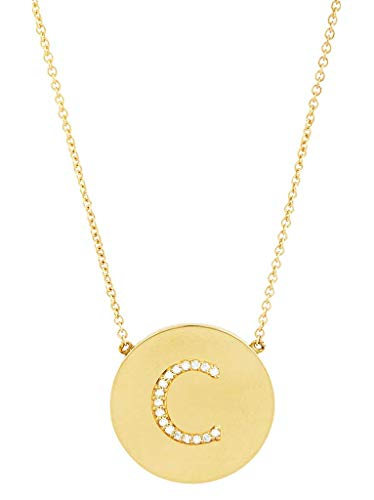 Sterling Forever - .925 Sterling Silver with Gold Vermeil Plating CZ Round Initial - Sterling Silver Vermeil Gold Pendant