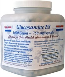 Nutrasense Glucosamine-ES ''Extra Strength'' 1,000 ct. veg caps Exclusively with shellfish-free Regenasure by NutraSense