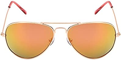 Retro Mirror Aviator Sunglasses Flash Tinted Lens Eyeglasses for Women Men UV400 (Gold/Pink)