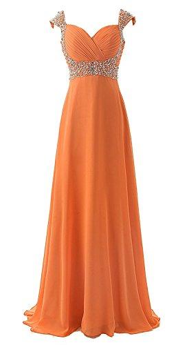 orange a line prom dress - 5