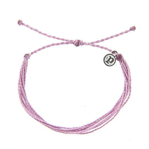 Pura Vida Jewelry Bracelets Solid Bracelet – 100% Waterproof and Handmade w/Coated Charm, Adjustable Band (Solid Lavender)