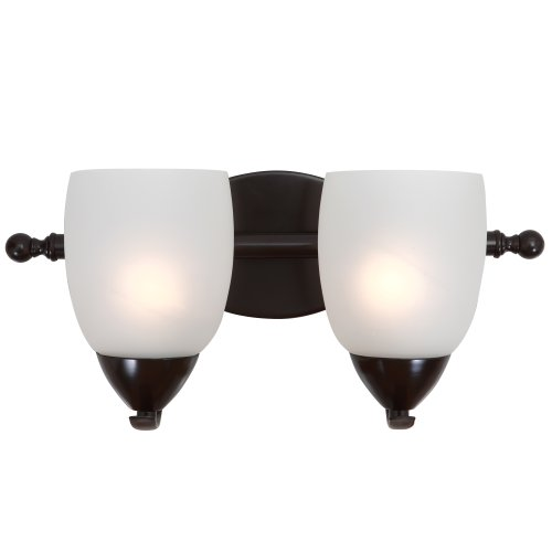 Yosemite Home Decor 1261-2V-ORB  2 Light Vanity with White Etched Glass, Bronze - Orb Two Light Vanity