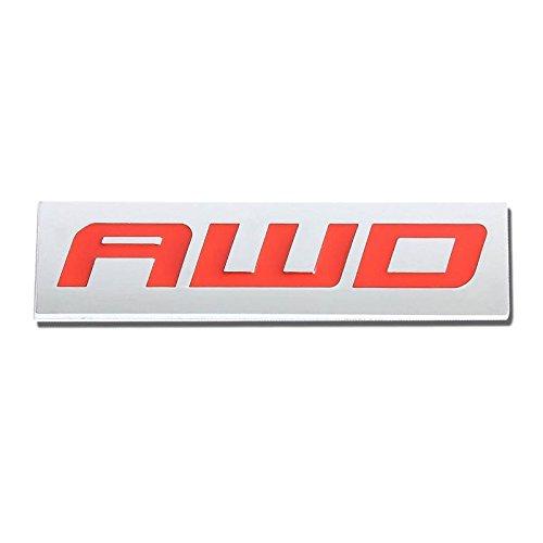 UrMarketOutlet AWD Red/Chrome Aluminum Alloy Auto Trunk Door Fender Bumper Badge Decal Emblem Adhesive Tape Sticker ()