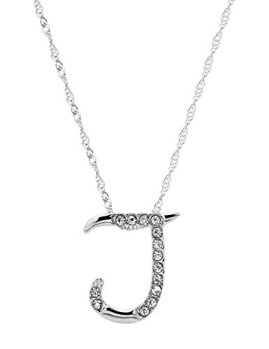 Paialco Jewelry Diamante Initial Pendant Letter J Necklace (Rhinestone Initial)